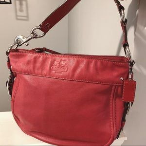 Authentic COACH Red Leather Shoulder Bag